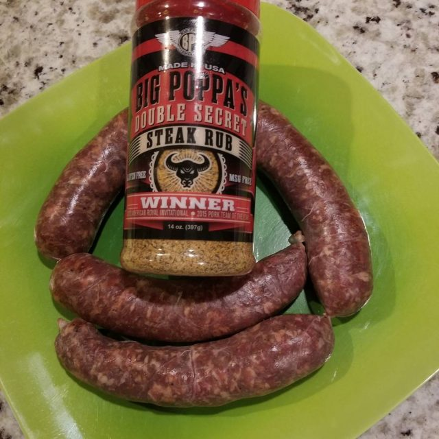 Fresh beef and pork sausages with bigpoppasmokers doubleSecret steakSeasoning rubbedhellip